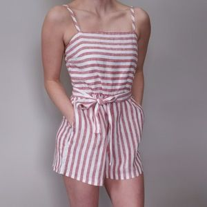 C&C California Pink & White Striped Linen Romper
